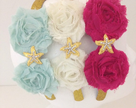 Starfish Headband, Beach Wedding, Flower Girl Headband, Beach Hair Wear, Floral Aqua Blue, Hot Pink,Ivory, Fancy Girl BoutiqueNYC