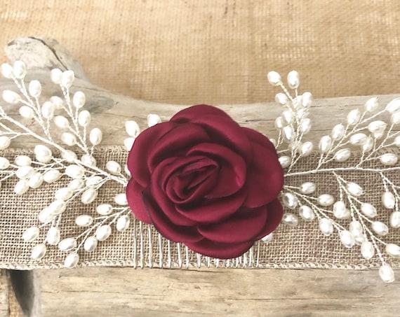 Pearl Hair Comb, Flower Pearl Hair Comb, Bridal Hair Comb, Flower Hair Comb, Bridal Hair Jewelry, Flower Hair Comb, Vintage Wedding comb