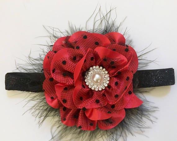 Christmas Baby Headband, Red Black Pearl Headband or Hair Clip, Flower Girl Clip, Bridal Hair Clip, Red clip, Portrait photo headband