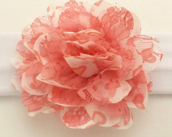 Pink Heart Floral Turban Headband, Nylon Flower Headband, Beige Plaid Headband, All Colors Newborn Headband, Baby girl gift