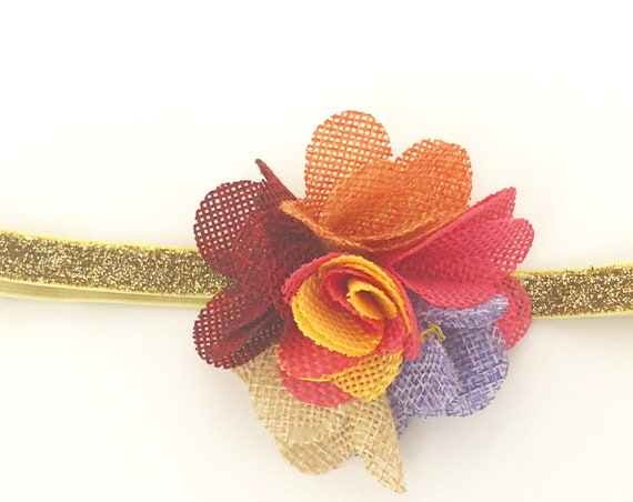 Baby Headbands, Fall Flower Baby Headband, Gold Burgundy Fabric Flower Headband, Thanksgiving Headband, Newborn Headband, Fabric Flower