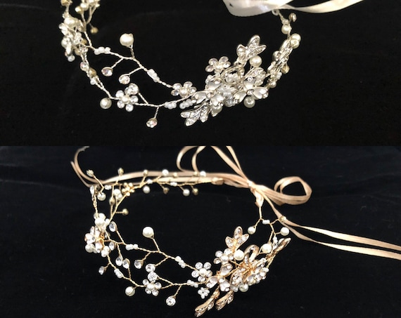 Flower Girl Crown, Communion Crown, Silver Crown,  Gold Crown Wreath, Rose Gold Wreath Crown, Floral Crystal Crown, Wedding Crown, Diamond W