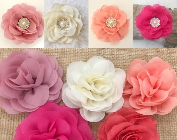 Baby Flower Hair Clips, Peach Coral, Dusty Pink Rose, Blush Flower clip, Ivory Flower, Wedding Flower Girl Brides Maid Bridal Flower
