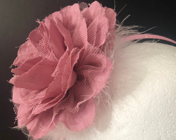 Dusty Rose Flower Headband Fascinator, Mauve Flower Headband, Spring Flower Clips, Big Flower Headband, Easter Flower Headband, All colors