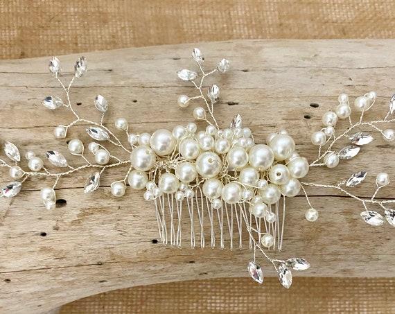 Bridal Hair Comb, Pearl Hair Comb, Vintage Wedding Headpiece, Crystal Wedding Comb, Crystal Pearl Bridal Hair Comb, Wedding Hair jewelry