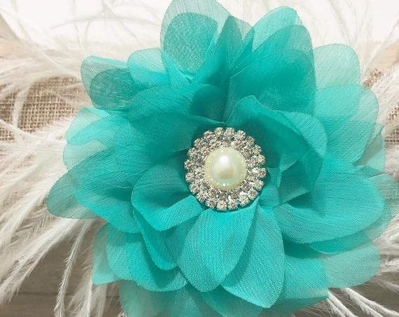 Teal Floral Hair Clip,Mint Hair Clip,Teal Ivory Feather Clip, Bridal Wedding Flower Girl Hair Clip, Light Green Flower Clip. Feather Clip