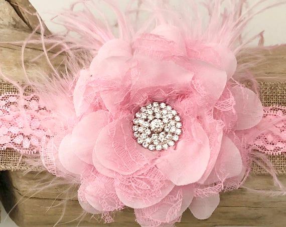 Baby Headband, Floral Headband, Lace Headband, Pink Baby Headband, Feather Headband, Flower Girl  Headband, Flower Girl Accessories