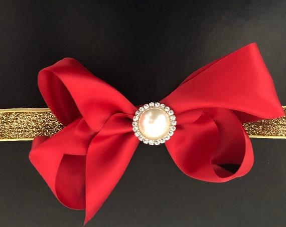 Satin Bow Headband, Holiday Headband,Hair Bow Headband, All Colors, Gold, Red, Hunter Green, Blue, Red Wine, Ivory, White Headband