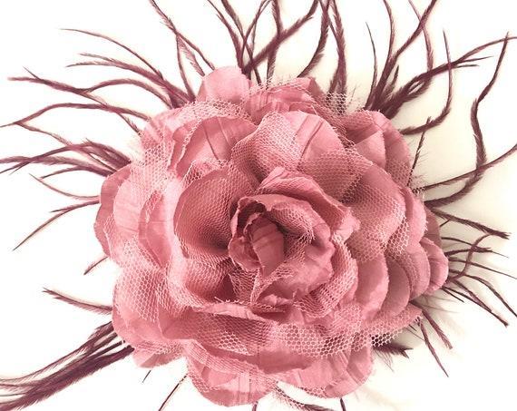 Dusty Pink  Hair Clip, Burgundy Rose Hair Clip, Mauve Floral Clip, Navy Hair Clip, Ivory Flower Hair Clip, Wedding Fascinate