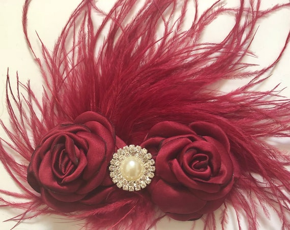 Holiday Clip, Burgundy Wine Feather Clip, Red wine Feather Clip, Maroon Hair Clip, Bridal Hair clip,  Flower Girl Clip, Pearl Flower Clip