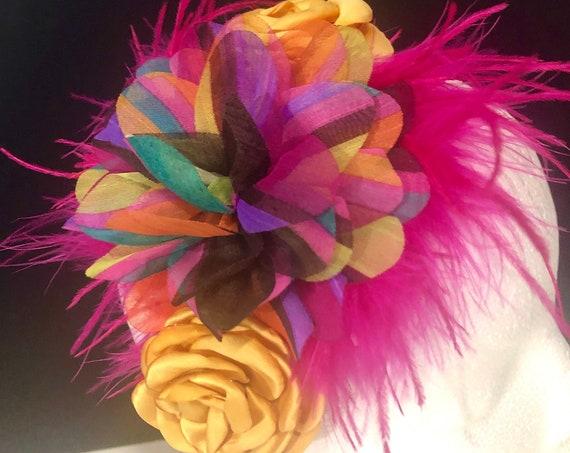 Flower Crown Headband Fascinator, Pink, Gold Wine Floral Headband Fascinator,Derby Hat Headband, Burgundy Floral Headband Fascinator