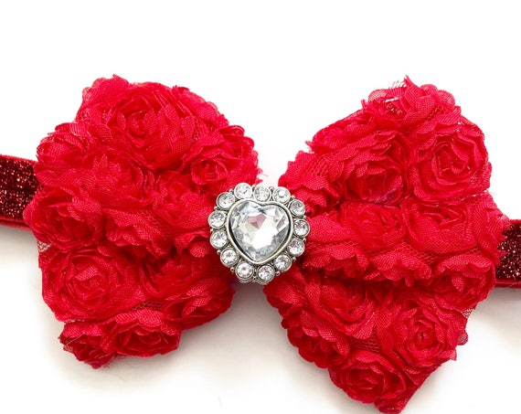 Valentine Headband, Valentine's Day Hair Bow, Red Heart Rhinestone Hair Bow, Red Chiffon Hair Bow, Newborn Toddler Baby Headband