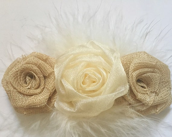 Rustic Wedding Hair Clip, Gold Hair Clip, Burlap Beige Ivory Gold Marabou Clip, Headband, Flower Girl Hair Accessories, Baptism Headband