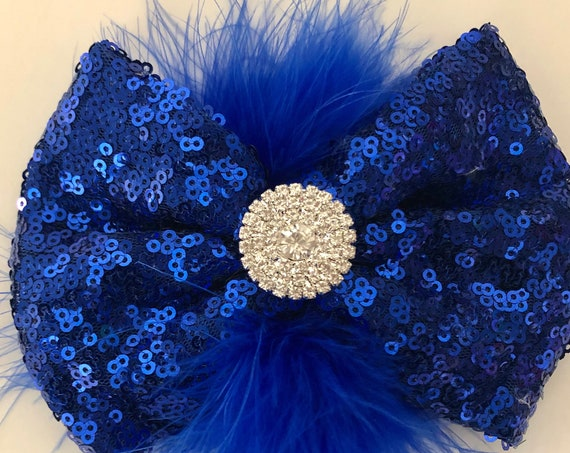 Royal Blue Hair Bow, Dance Costume Hair piece,All Colors,Red, black,Gold, Silver, Light Pink, Hot Pink, Purple, Crystal Feather Hair Clips
