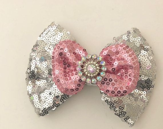 Silver Pink Hair Bow, All Colors, Hot Pink, Pink, Black, Red, Gold, Royal Blue, Silver Hair Bow, Custom Dance Costume Hair Bow,