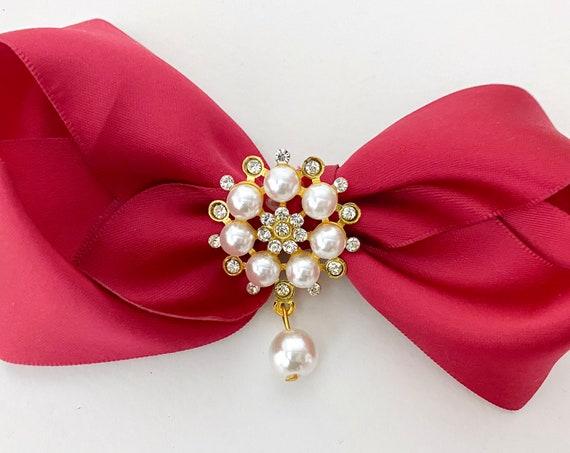 Christmas Hair Bows, Gold Crystal Bow, Deep Red Hair Bow, Red Wine Hair Bow, Teal Satin Bow Holiday Hair Bows, All colors Satin Hair Bows,