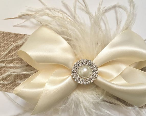 Ivory Cream Feather Bow, Feather Bow, Ivory Pearl Feather Bow, Red Feather Bow, Flower Girl Hair Clip, Satin Hair Bow, Flower Girl Hair Clip
