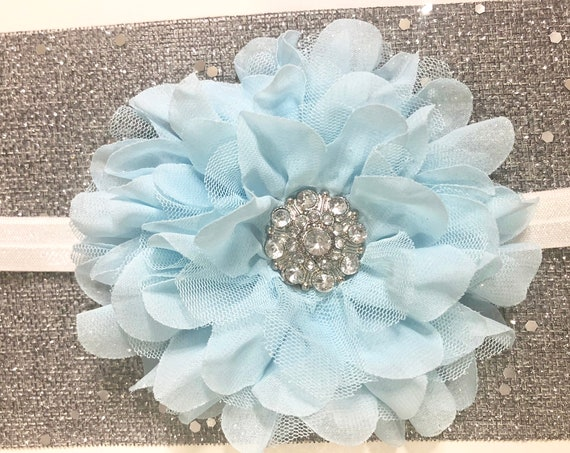 Baby Blue Baby Headband, Rhinestone headband, Holiday Headband, Flower Headband, portrair photo, newborn headband, Toddler headband