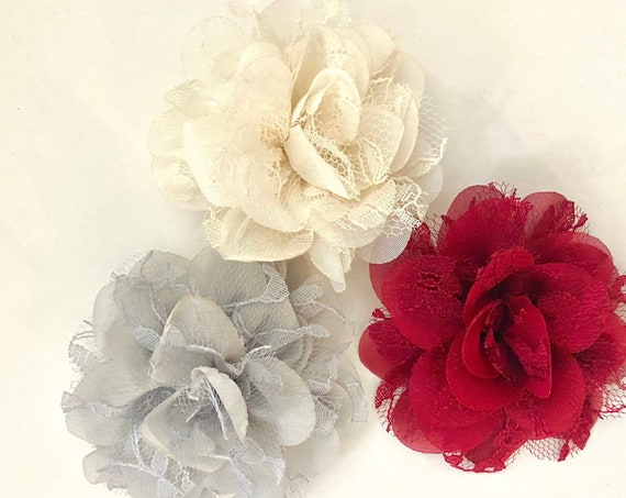 Lace Hair Clips,Baby Floral Ivory Chiffon Hair Clip, Burgundy Clip, Silver Hair Clips,Chiffon Lace Hair Clip, Wedding Flower Girl Hair Clips