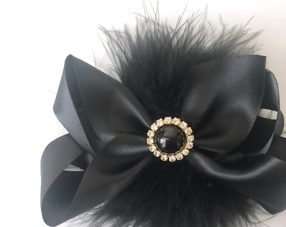 Black Hair Clip, Black Gold Hair Bow, Black Satin Hair Clip, Gold Crystal Feather Bow, Red Black Hair Clip, Hunter Green Gold Hair Clip