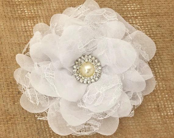 White Flower Hair Clip, Bridal Hair Clip, All Colors, Floral Hair Clip, Ivory, Coral, Peach, Hot Pink, Grey  Custom Flower Girl Hair Clip