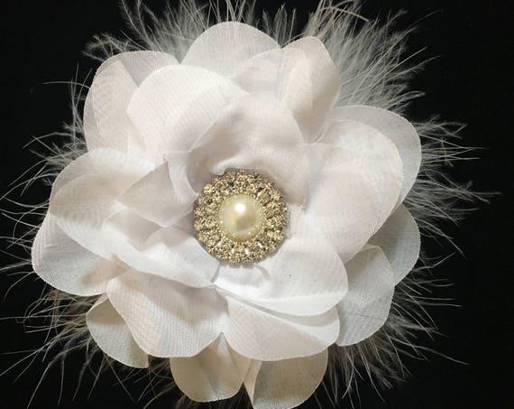 White Flower Hair Clip, Bridal Hair Flower Clip, White Pearl Rhinestone Flower Hair Clip, Flower Girl Hair Clips, White Chiffon Flower