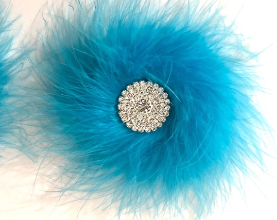 Dance Costume Hair clips, Crystal Feather Clips,Hot Pink, Pink, White,Purple, Turquoise,Black Marabou Feather Hair Clip for girls