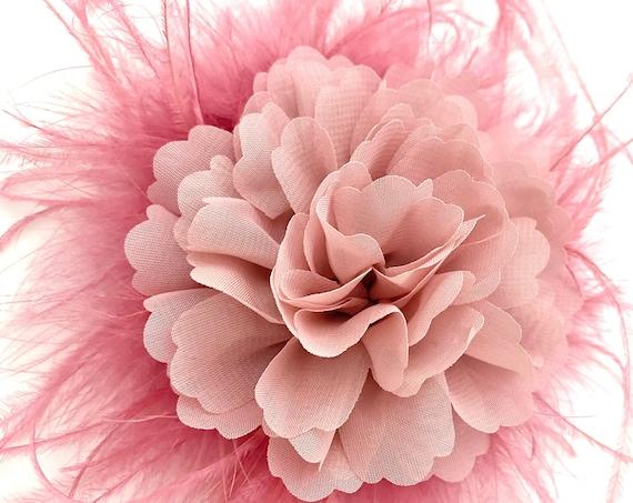 Dusty Pink Rose Fascinator, Dusty Rose Flower Hair Clip, Burgundy Hair Clip, Wedding Hairpiece, Bridal Headpiece Feather Hair Clips