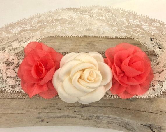 Coral Headband, Baby Flower Headband, Coral Ivory Flower Headband, Small Flower Lace Headband, Lace Baby Headband, Baptism Headband