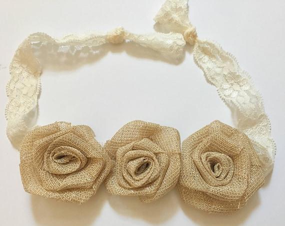 Beige Floral Headband, Rustic Headband, Fairy Headband, Fabric Burlap Headband, Fabric Floral Crown, Floral Headband, Rustic Baby Headband
