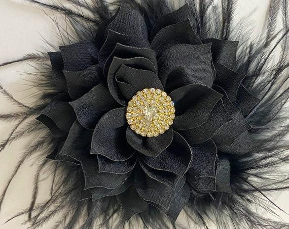 Black Hair Clip, Black Feather Hair Clip, 1920 Vintage Feather Hair Clip, Black Fascinator, Burgundy Feather Flower Clip, Brides Maids Clip