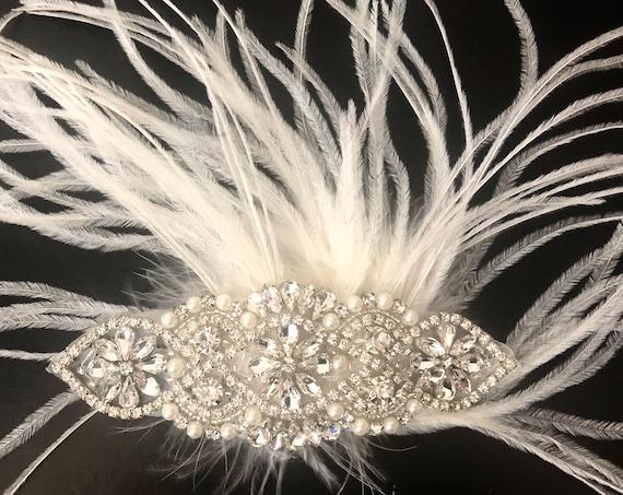 Wedding Headpiece, Vintage Wedding Hair piece, 1920's Great Gatsby Hairpiece, Crystal Pearl Hair Comb, Wedding Hair Combs,Bridal Hair Comb