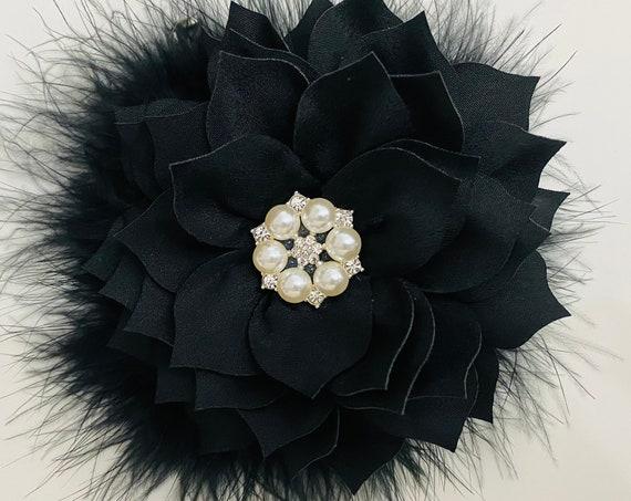 Black Flower Hair Clip, White Flower Hair Clip, Crystal Pearl Floral Hair Clips, Wedding Bridal Flower Hair Clips, Wedding Hairpieces