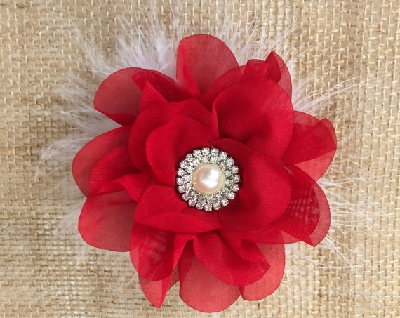 Holiday Red Clip, Red Flower Clip, White Flower Clip, Navy Flower Clip, Gray Flower Clip, Bridal Hair Clip, Baby Headband, Holiday Hair Clip