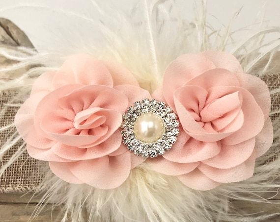 Blush Flower Hair clip, Blush Hair Clip, Blush Pink Flower Girl Hair Accessories, Pale Pink, White, Mint, Coral, Ivory Flower Feather clip