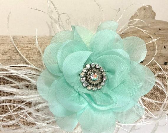 Mint Flower Hair Clip, Bridal Hair Clip, Bridal Fascinator, Feather Hair Clip, Wedding Hair Accessories, Flower Girl Hair Clip, Mint  Flower