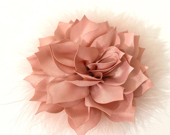 Dusty Pink Rose Hair Clip, Dusty Rose Floral Hair Clip,