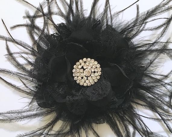 Rhinestone Flower Hair Clips Crystal Feather Clip, Bridal Hair Clip, Wedding Headpiece,Christmas Flower Girl Hair Clip, Black  Hair Clip