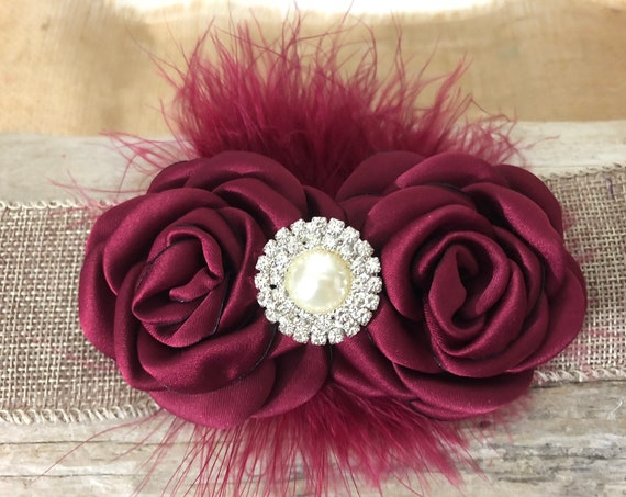 Burgundy Flower Clip, Flower Girl Clip, Bridal Clip,Red Wine flower Clip, Maroon Clip, Flower Girl Headband, Bridal Hair clip,