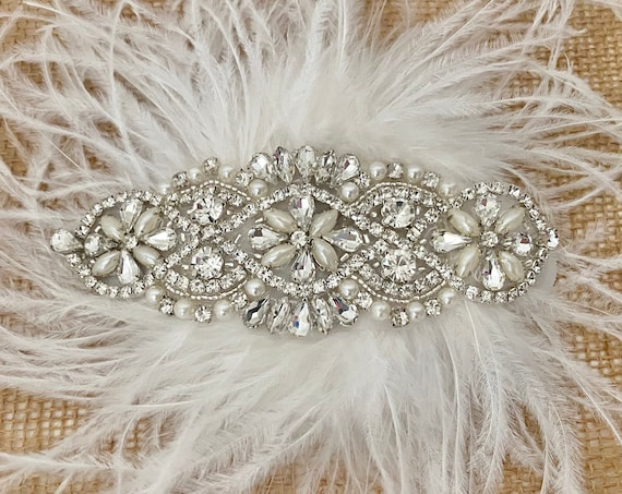 Vintage Wedding Headpieces, 1920's Deco Wedding Hairpiece, Silver, Rose Gold, Gold Feather Bridal Fascinator,