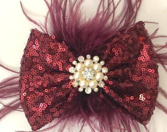 Burgundy Hair clips, Burgundy Pearl Hair Clip, Red Wine Hair Bow, Maroon Hair Bow, Wedding Hair Accessories, Flower Girl Clip,