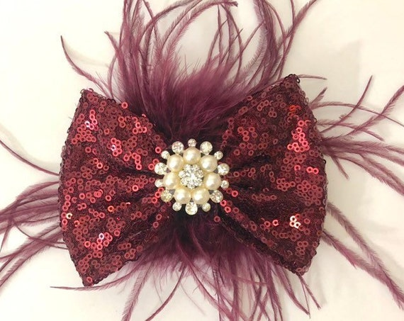 Burgundy Feather clip, Wine Feather Hair Bow, Maroon Bow, Pearl Rhinestone Bow, Portrait Photo girl Hair Bow, Bridal Fascinator, Flower girl