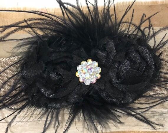 Glitter Black Feather Clip, Glitter Black Clip, Black Hair Clip,Dance Costume Hair Clip, Black Feather Clip,1920's Hair piece, Feather clip