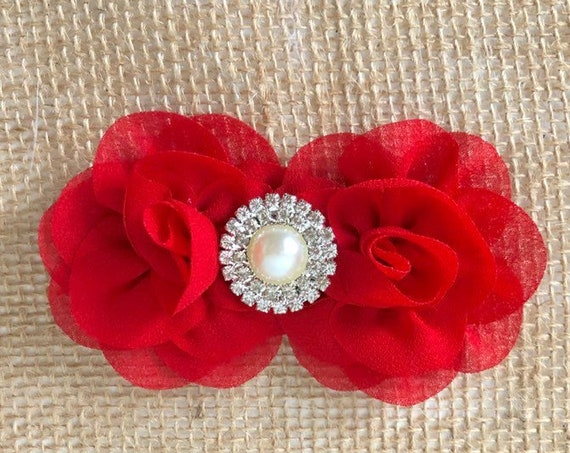 Red Baby Flower clip, Small Baby Clip, White, Ivory, Pale Pink, Coral, Mint Flower Pearl Clip, Baby Headband, Baptism Headband, Holiday Head