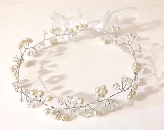 Flower Crown, Communion Crown, Flower Girl Crown Wreath, Silver Crystal Bridal Crown, Gold Flower Crown, Silver Communion Crown Halo Wreath