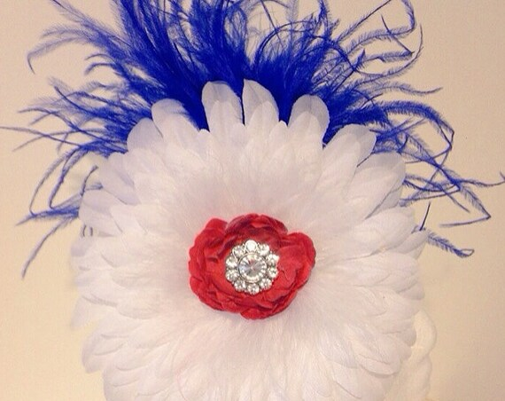 Red White and Blue Feather Flower Headband Fascinator. Made in America by  Fancy Girl BoutiqueNYC Custom Fascinators