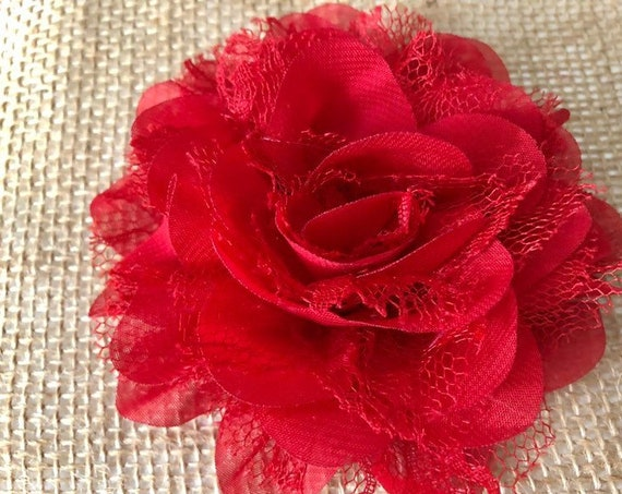 Valentine Hair clip, Valentine Gift for Girl, Red Flower clip, Flower Girl Bridal Hair clip, Portrait photo clip, Flower clip for girls,