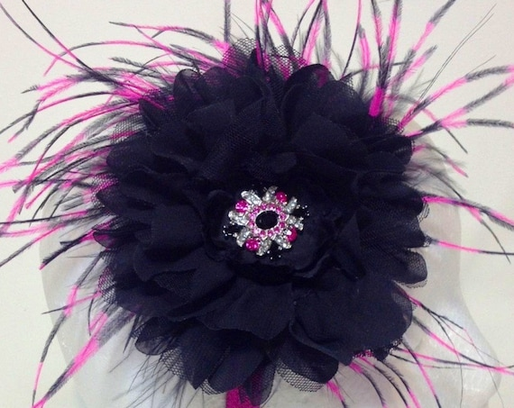 Black and Hot Pink Flower Feather Headband Fascinator. Flower Hair Fascinator, Dance Costume Hair piece.Flower Girl, Wedding Fascinator