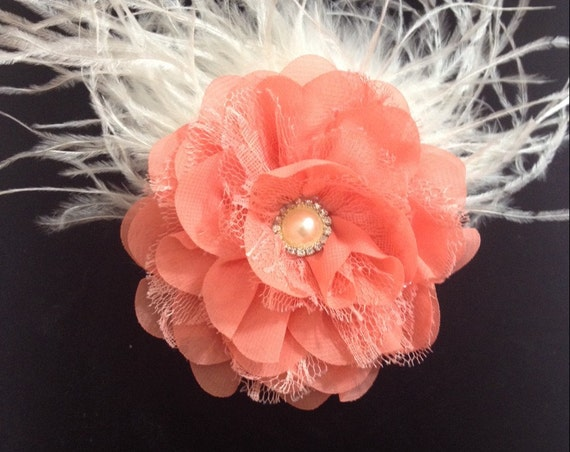 Coral Flower Hair Clip, Chiffon Lace Flower  Clip, Feather Hair Clip, All Colors, White, Ivory, Gray, Purple, Bridal Hair clip