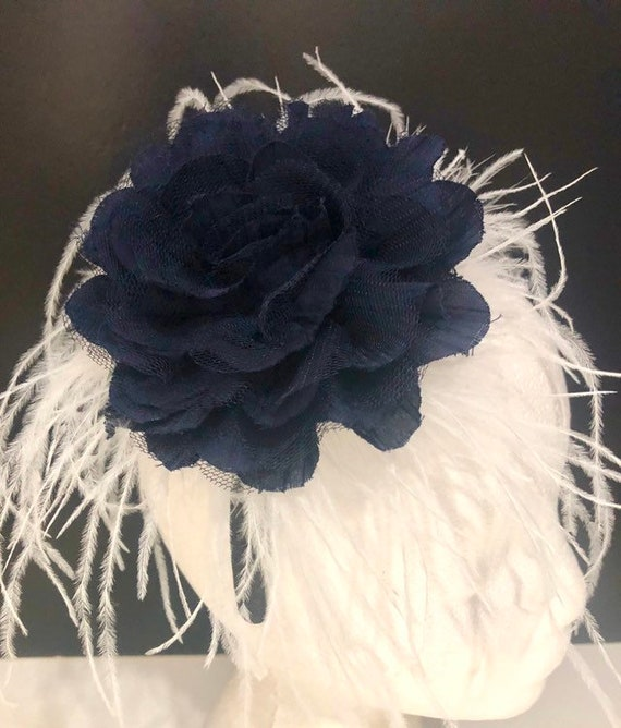 Blue Wedding Fascinator,Kentucky Derby Hat Navy Headband Fascinator Headband Navy Blue Flower Crown Headband, Kentucky Derby Headband